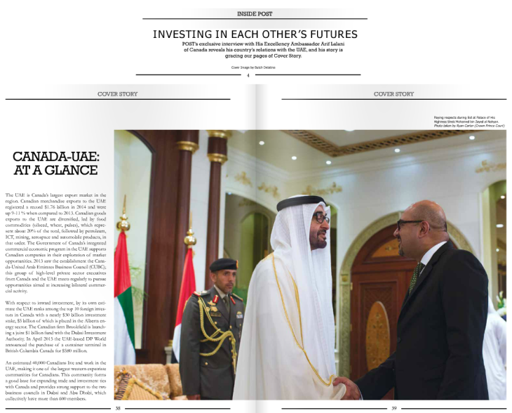 POST - Cover Story - Investing in each others future - His Excellency Ambassador Arif Lalani Canada-UAE Re-energize Relations