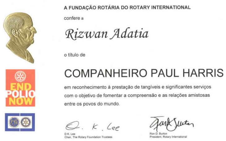 Rizwan Adatia gets Rotary Award
