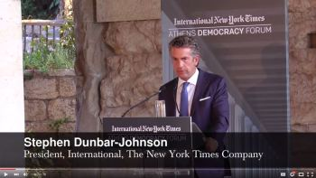 Stephen Dunbar-Johnson, President, International, The New Your Times Comapany welcomes and introduces His Highness the Aga Khan as a true champion of pluralistic societies.