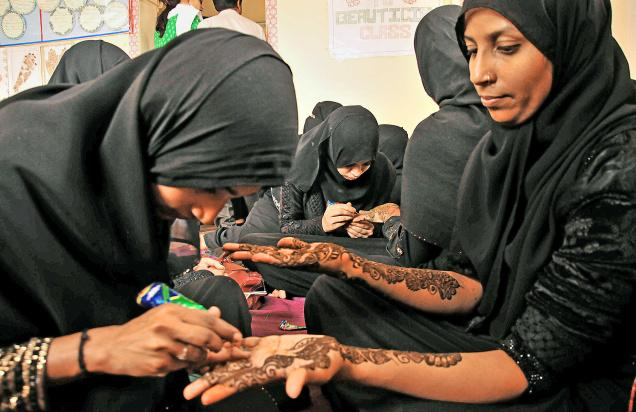 Girls at the vocational training centre in the city. (PHOTO: G. Ramakrishna via The Hindu)