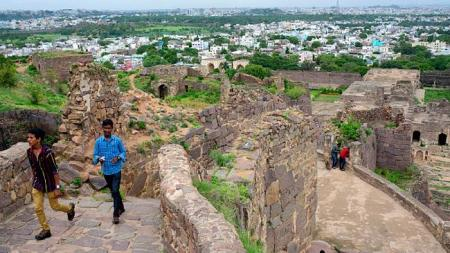 Tourists at Golconda Fort, about 11km from Hyderabad.