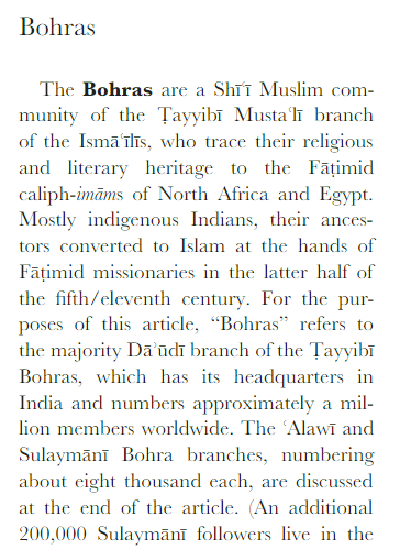 """Bohras"" Encyclopaedia of Islam article"