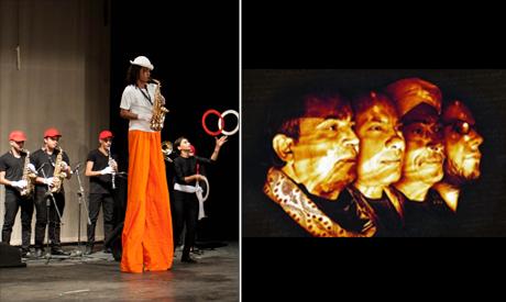 Egyptian Project group, featuring students from Al-Darb Al-Ahmar Arts School performs at El-Geneina Theatre in Al-Azhar Park