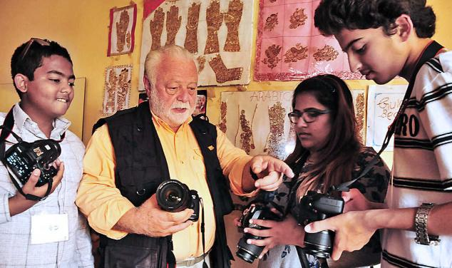 Fredric Robert with his students. (Photo: G. Ramakrishna via The Hindu)