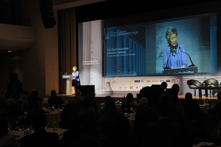 The Right Honorable Adrienne Clarkson speaking at the 2015 Athens Democracy Forum. (image via Huffington Post)