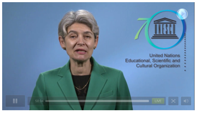 London, 22 October 2015: UNESCO Director General Irina Bokova, delivering a video message at the ICOMOS 50th Anniversary Conference (image via live webcast screen capture)