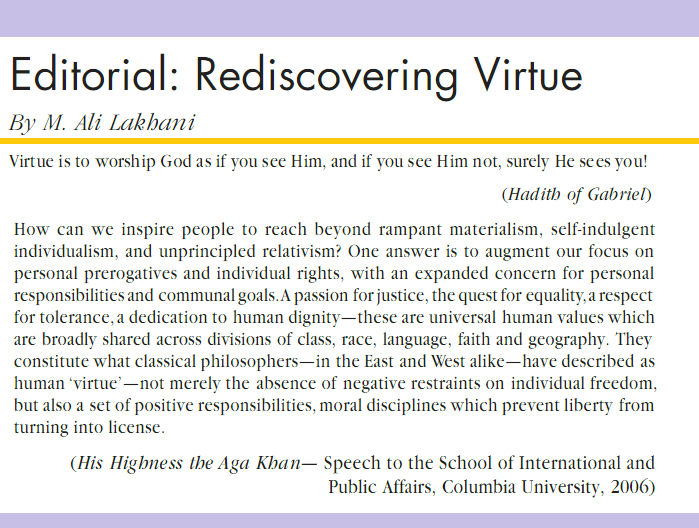 M. Ali Lakhani: Rediscovering Virtue