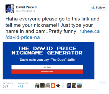 Ruhee Dewji' s David Price nickname generator goes viral