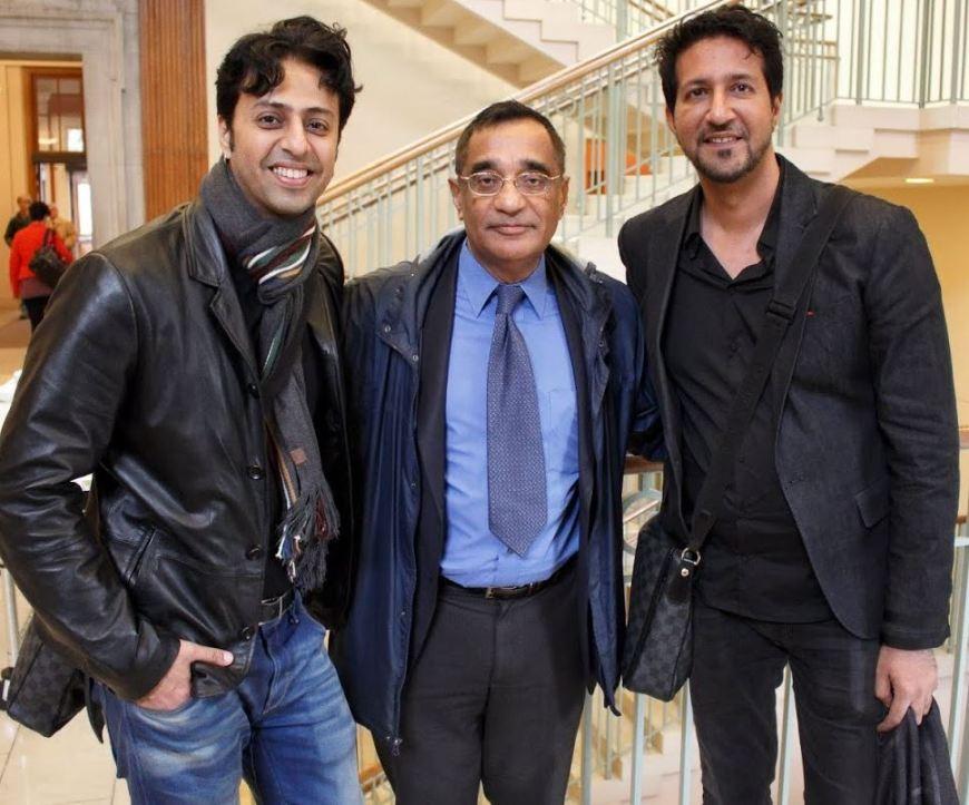 From Left to Right: Salim Merchant, Professor Ali Asani, and Sulaiman Merchant, minutes before the talk at Harvard University. (Image credit: Anvar Nanji Copyright)