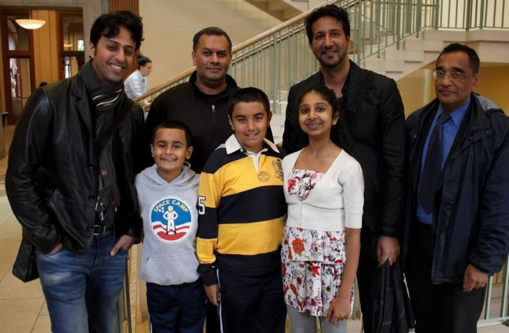 Back, Left to Right: Salim Merchant, Azeem Maherali, Sulaiman Merchant, and Professor Ali Asani. <br /> Front, Left to Right: Excited young fans: brothers Riyaan and Qayl Maherali; and Alyna Nanji. (Image credit: Anvar Nanji Copyright)
