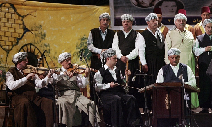 Iraqi musicians take part in a maqam music festival in Baghdad in 2009. (Photograph: AFP/Getty Images via The Guardian)