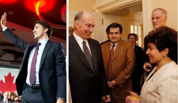 """Victorious Trudeau"", His Highness the Aga Khan and Liberal MP Yasmin Ratansi. (Image credit: Jean-Marc Carisse via Simerg)"