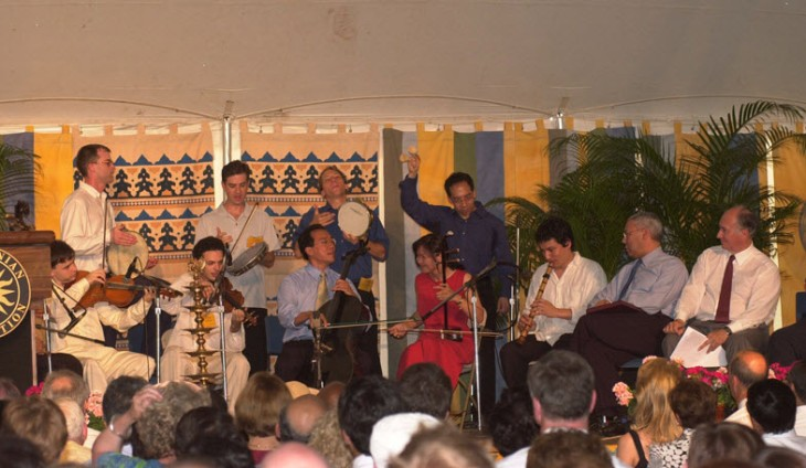 Yo-Yo Ma and members of the Silk Road Ensemble performing at the opening ceremony of the Smithsonian Folklife Festival in 2002. Former U.S. Secretary of State Colin Powell and Mawlana Hazar Imam are seated at right. (Photo: AKDN/Zahur Ramji)