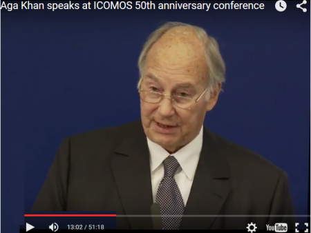 YouTube - His Highness Prince Karim Aga Khan speaks at ICOMOS 50th Anniversary Conference