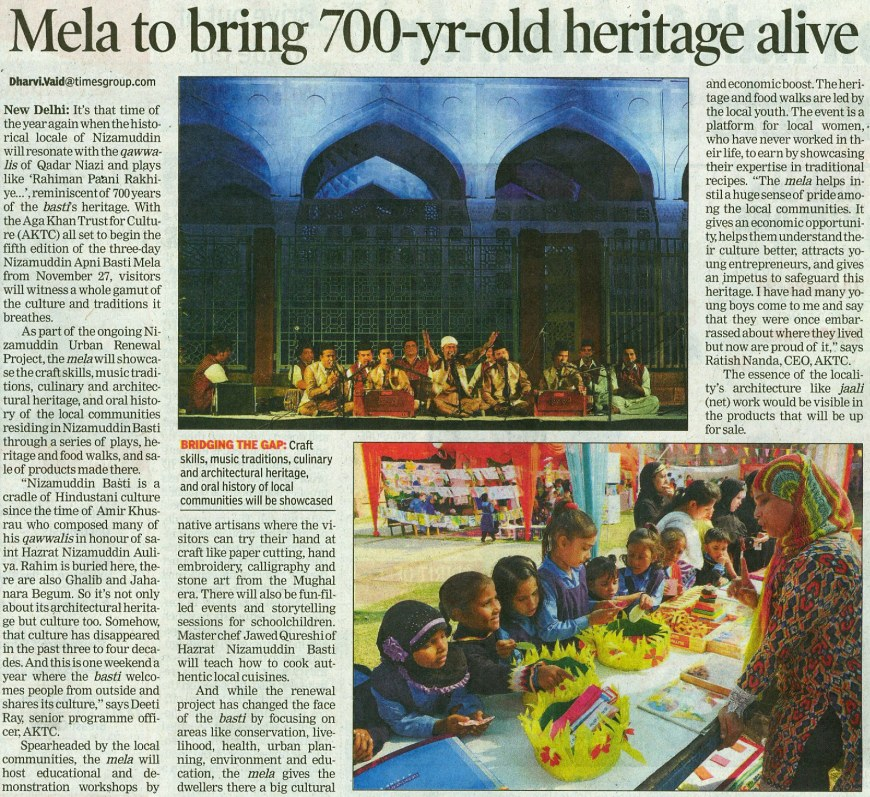 Aga Khan Trust for Culture India, all set to begin three-day Nizamuddin Apni Basti Mela