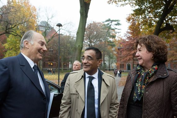 L to R: His Highness Prince Karim Aga Khan, Ali Asani - Professor of Indo-Muslim Religion and Cultures and the Director of Prince Alwaleed bin Talal Islamic Studies Program at Harvard, Michèle Lamont Director of the Weatherhead Center for International Affairs at Harvard. (image credit: Martha Stewart via Huffington Post)