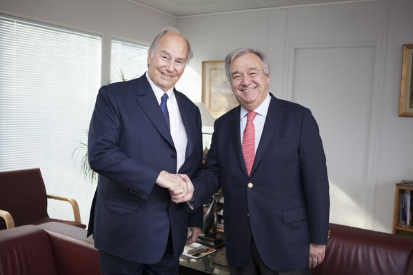 His Highness the Aga Khan, visited UNHCR headquarters today to meet UN High Commissioner for Refugees António Guterres and discuss past and future cooperation in emergency operations around the world. (image credit: The Ismaili)