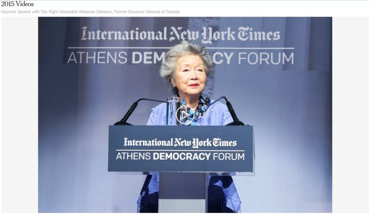 Athens Democracy Forum: Keynote Speech with The Right Honorable Adrienne Clarkson, Former Governor General of Canada