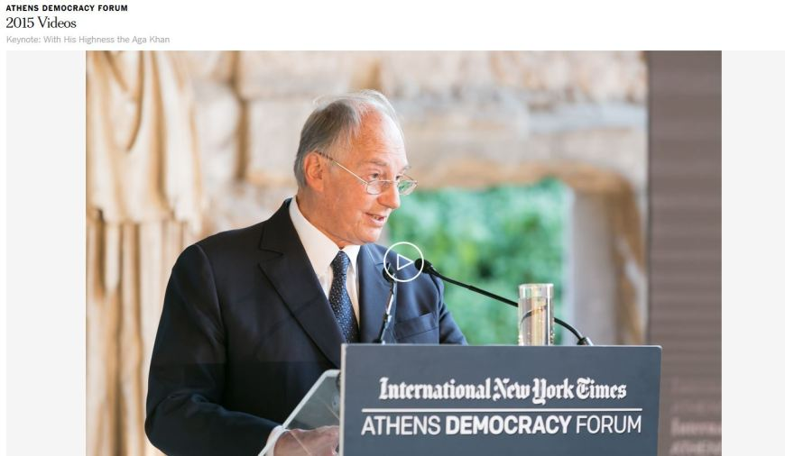 Athens Democracy Forum: Keynote Speech with His Highness Prince Karim Aga Khan