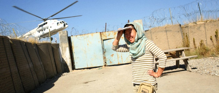 May Jeong about to board a UNHAS helicopter at Forward Operating Base Salerno in Khost province, eastern Afghanistan.
