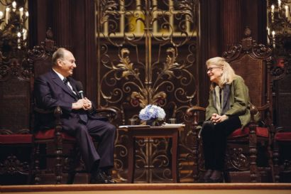 Professor Diana L. Eck of Harvard University conducted the interview with His Highness the Aga Khan following the Samuel L. and Elizabeth Jodidi Lecture, 12 November 2015. (Photo: AKDN)