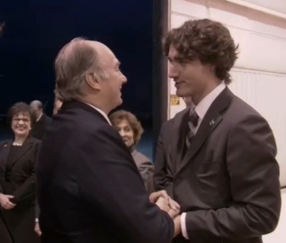 Justin Trudeau greets His Highness the Aga Khan as he arrives in Ottawa, Canada, to celebrate his Golden Jubilee in 2008. Looking on are Senator Mubina Jaffer, left, and MP Yasmin Ratansi. Mr. Trudeau was then an MP for his Papineau riding in the Quebec. (Image credit: The Ismaili)
