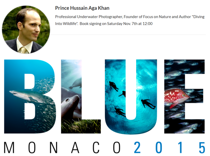 Prince Hussain Aga Khan personalize your copy of his book Diving into Wildlife- Oceanographic Museum - Monaco-PH Photo