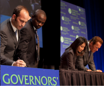 Davis, California, November 17, 2010: Prince Hussain signs Charter of Climate Action at Governors' Global Climate Summit 3. (Image credit: AKDN)