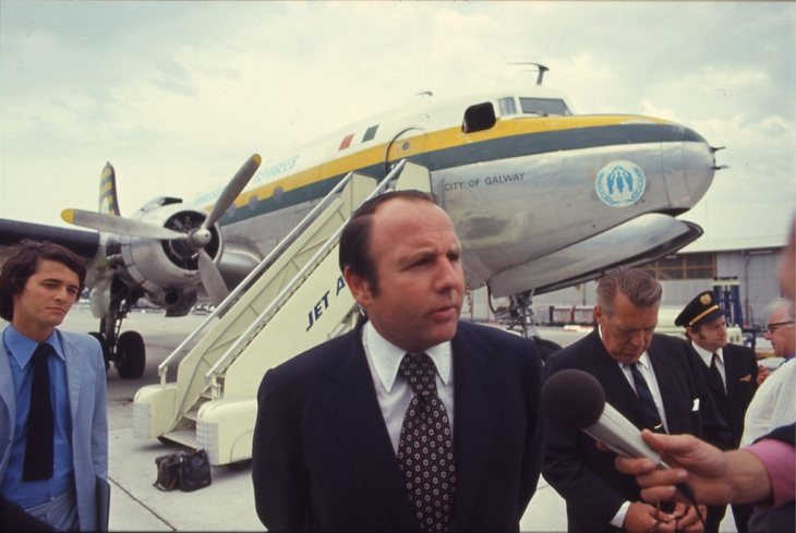 "United Nations High Commissioner for Refugees Sadruddin Aga Khan being interviewed in front of the ""City of Galway"". (Image credit: UNHCR / D. Vittet / June 1971)"