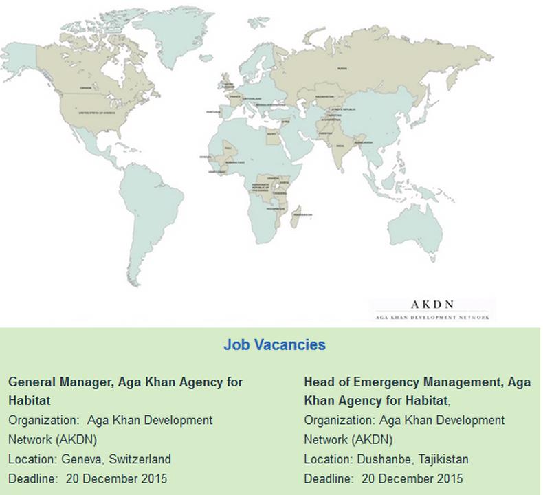 Aga Khan Agency for the Habitat - a new AKDN Agency has multiple job opportunities - apply by Dec 20