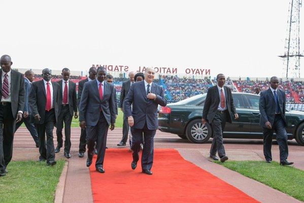 Welcoming Liberian President Ellen Johnson Sirleaf & His Highness the Aga Khan for the 52nd Jamhuri Day celebrations