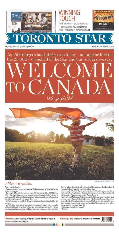 Toronto Star's Front Page Welcoming Syrian in Arabic.