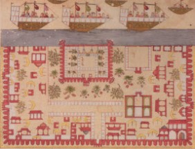 Painting from India by Anis al-Hujjaj (1677-1680) shows departures from the port of Surat, Gujarat. (Image: The Ismailis: An Illustrated History)