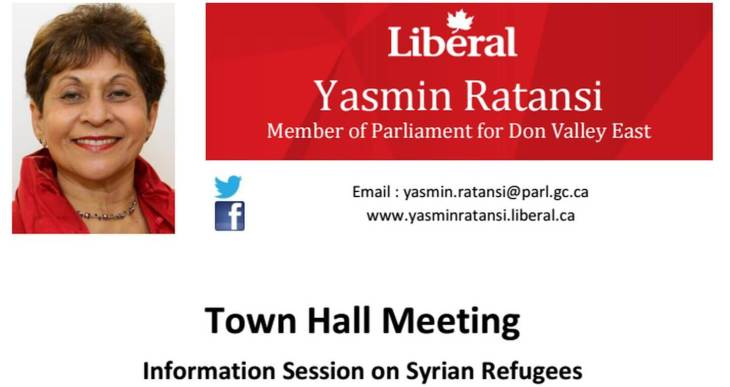 MP Yasmin Ratansi to hold information session on Syrian Refugees
