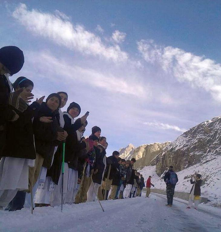 Gojal: Scouts, girl guides hike amid heavy snow