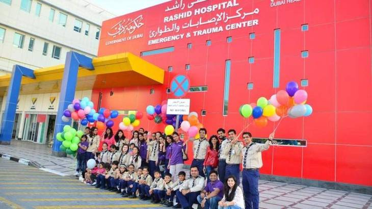 Spread a Smile, Aga Khan Scouts: volunteers at Rashid Hospital to cheer up patients