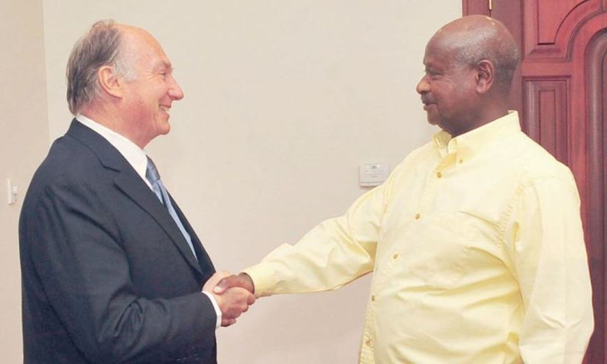 WELCOME: The Aga Khan and his various organisations and agencies, is one of Uganda's leading investors and a regular visitor to President Museveni. (Image via East African Business week)