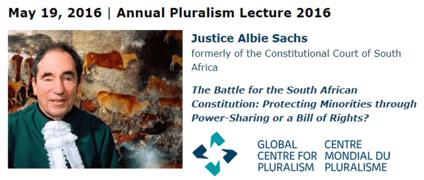 Justice Albie Sachs of South Africa to deliver 2016 Annual Pluralism Lecture