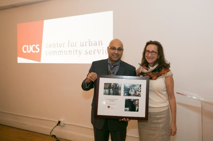 Ali Velshi receives the 2015 Humanitarian Champion Award from New York's Center for Urban Community Services