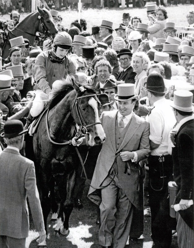 1981: His Highness Prince Karim Aga Khan IV leading Shergar after his win in the 1981 Epsom Derby (Photo by Getty Images)