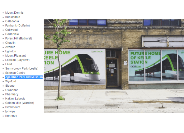 Aga Khan Park and Museum named confirmed for Metrolinx Eglinton line