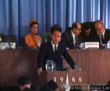Prince Sadruddin Aga Khan at the International Conference on Human Rights, Tehran, Iran, April 1968