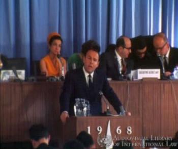 Prince Sadruddin Aga Khan at the International Conference on Human Rights, Tehran, Iran, April 1968