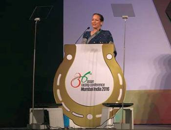 Princess Zahra Aga Khan delivering the keynote address at the 36th Asian Racing Conference (Image credit: Aga Khan Studs)