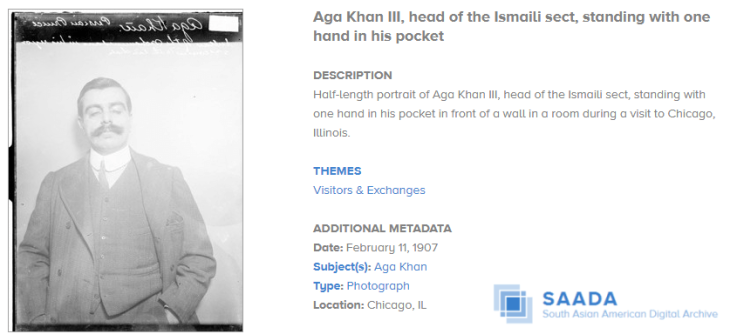 South Asian American Digital Archive: Aga Khan III in Chicago, Illinois, 1907