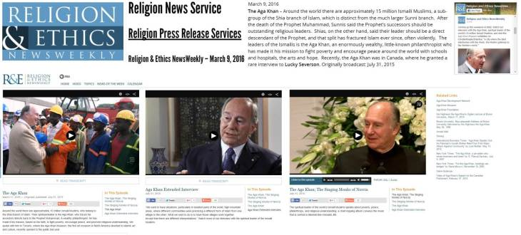 This weekend on Religion and Ethics NewsWeekly: Interview with His Highness Prince Karim Aga Khan