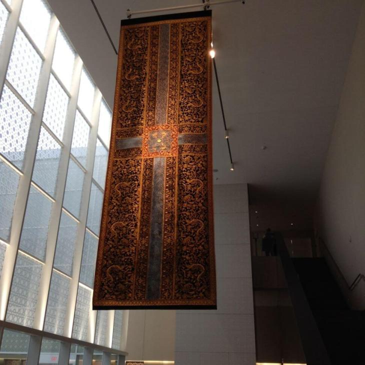 A six meters long double sided tapestry 'Your Way Begins on the Other Sides' by Aisha Khalid. (Photo by Alyna Nanji)