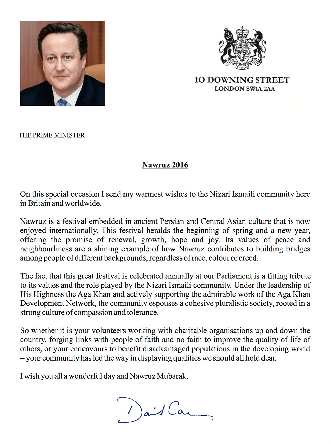 Uk muslims press for peace at 10 downing street - Letter From The Uk Prime Minister To The Ismaili Community On The Occasion Of Navroz