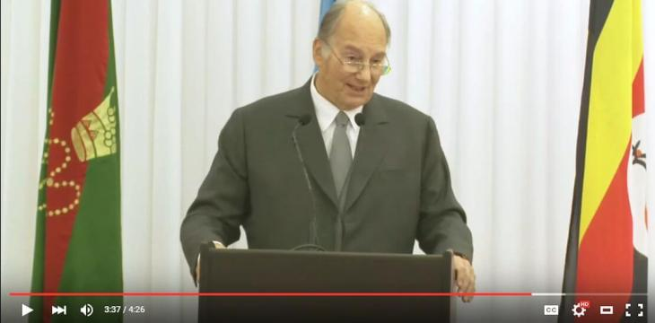 Aga Khan addressing AKU's New Teaching Hospital in Kampala, Uganda