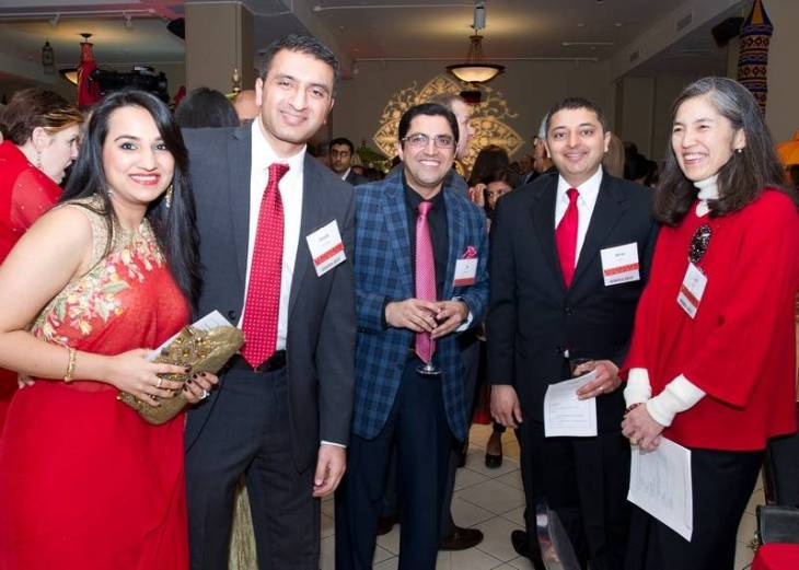 Pictured at the Red Sari evening, from left, are Ronak Sitafalwalla; Dr. Shoeb Sitafalwalla, medical director and founder of SACC; Ghulam Khalfan, community organizer; Dr. Nirav Shah, director of the Illinois Department of Public Health; Dr. Julie Morita, commissioner of the Chicago Department of Public Health. Photo: Advocate Health Care